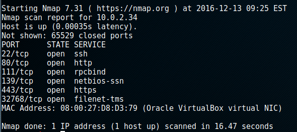 nmap finds 6 ports open