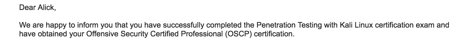 OSCP Exam passed! – Alick Gardiner – Functional and