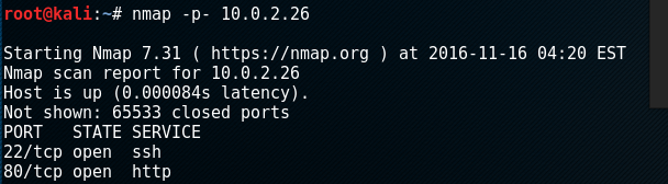 nmap finds ports 22 and 80 open