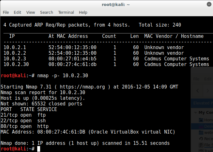 nmap finds ports 21, 22 and 80 open